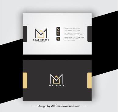 business card template elegant contrast plain decor