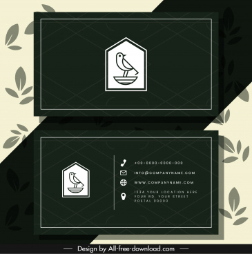 business card template elegant dark bird logo sketch