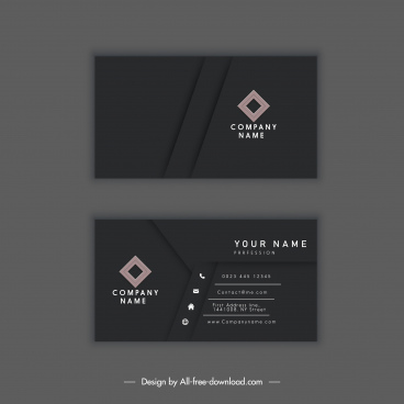 business card template elegant dark black decor