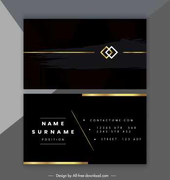 business card template elegant dark black golden plain
