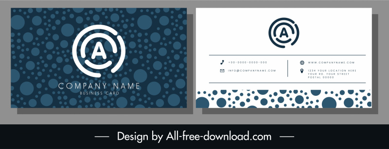 business card template elegant dark blue circles decor
