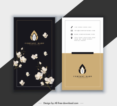 business card template elegant dark bright botany decor