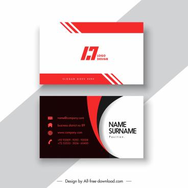 business card template elegant dark bright flat design