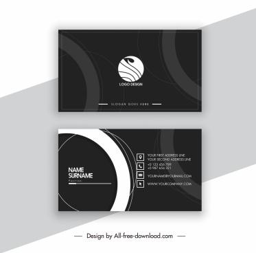 business card template elegant dark design circles decor
