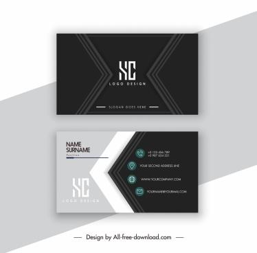 business card template elegant dark design modern arrows