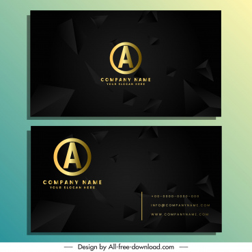 business card template elegant dark dynamic 3d pyramid