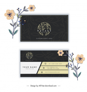 business card template elegant dark flat leaves sketch