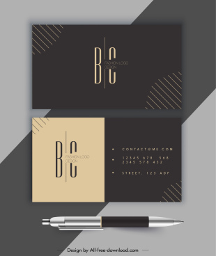 business card template elegant dark flat simple decor
