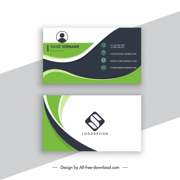 business card template elegant design curves decor