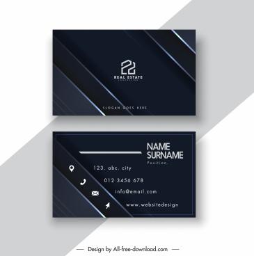 business card template elegant flat dark black decor