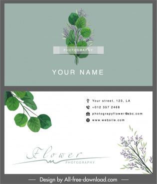 business card template elegant floral leaf decor