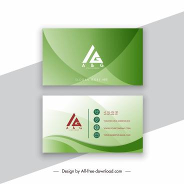 business card template elegant green curves decor