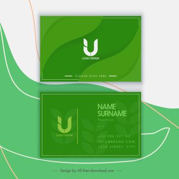 business card template elegant green monochrome leaves decor