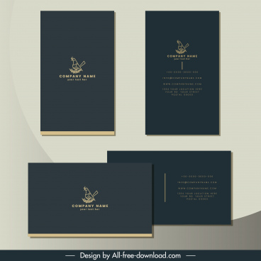 business card template elegant grey plain bird sketch