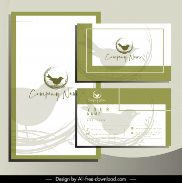 business card template elegant handdrawn bird sketch