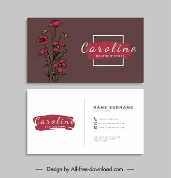 business card template elegant handdrawn classical flower decor