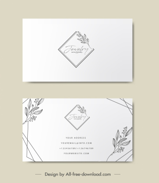business card template elegant handdrawn floral geometry