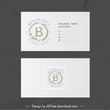 business card template elegant leaf text logotype