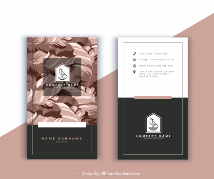 business card template elegant leaves decor