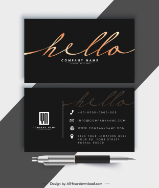 business card template elegant luxury dark black decor