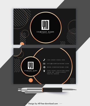 business card template elegant luxury dark circles decor