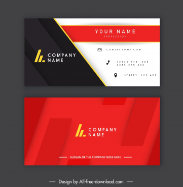 business card template elegant modern flat black red