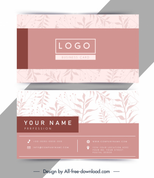 business card template elegant pink leaves decor