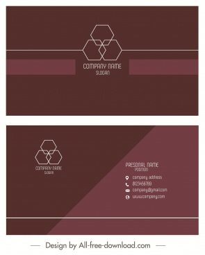 business card template elegant plain brown geometric decor