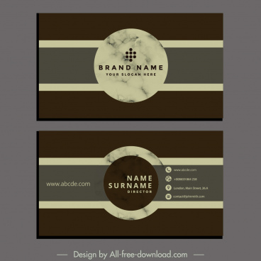 business card template elegant retro design circle decor
