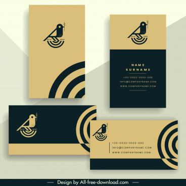 business card template elegant simple bird icon decor