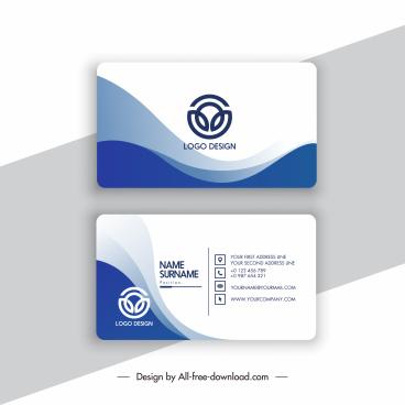 business card template elegant white blue curves decor