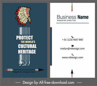 business card template ethnic elements decor