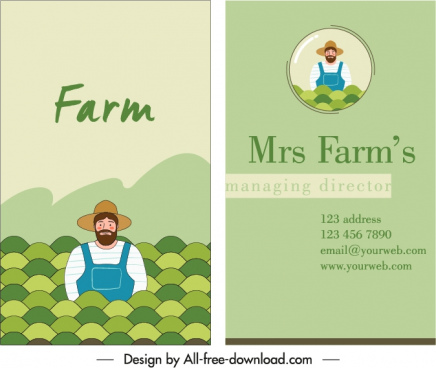 business card template farmer icon sketch cartoon character