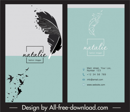 business card template feather sketch classical design