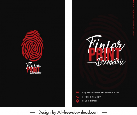 business card template fingerprint sketch dark black decor
