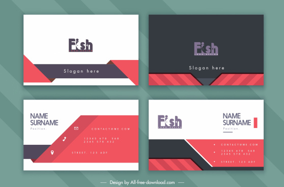 business card template fish text logotye decor