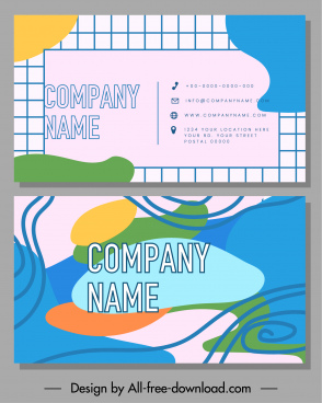 business card template flat abstract handdrawn geometry decor