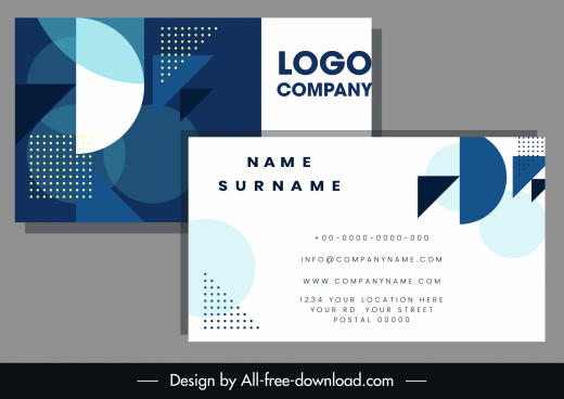 business card template flat blurred geometric shapes decor