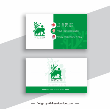 business card template flat elegance countryside elements