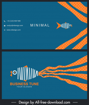 business card template flat fish sketch