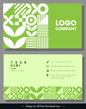 business card template flat green white abstract shapes