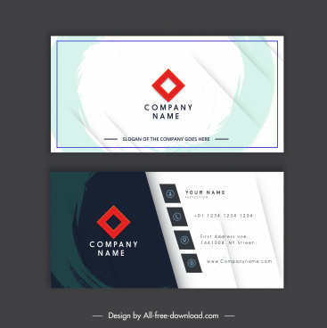 business card template flat grunge decor contrast design