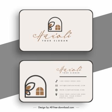 business card template flat house sketch plain decor