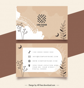 business card template flat retro nature elements