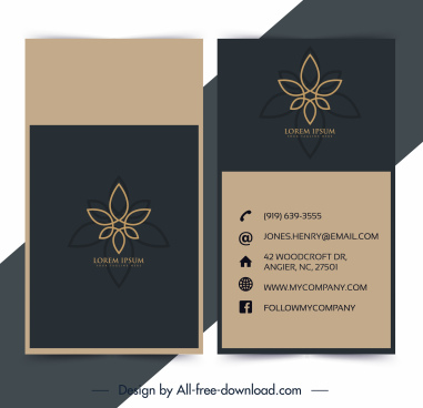 business card template flora decor classic flat sketch