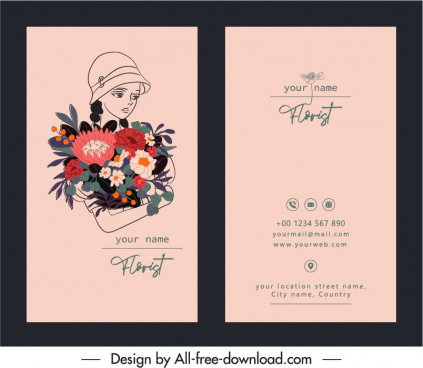 business card template florist sketch classical handdrawn design