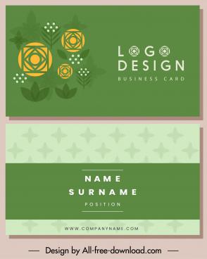 business card template flower sketch green flat decor