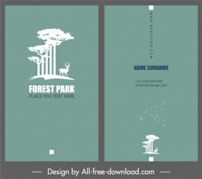 business card template forest elements plain silhouette design