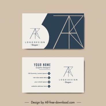 business card template geometric logotype plain classic