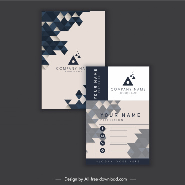 business card template geometric polygonal decor vertical design